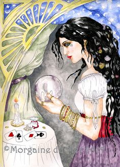 Fortune Teller with Crystal Ball 8x10 Fantasy Art by MagickMermaid, $18.00