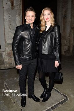 Fabulously Spotted: Jeremy Renner & Eva Riccobono In Diesel Black Gold - Diesel Black Gold Fall 2014 Front Row  - http://www.becauseiamfabulous.com/2014/01/eva-riccobono-jeremy-renner-in-diesel-black-gold-diesel-black-gold-fall-2014-front-row/