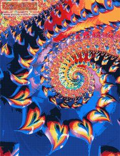 Rainbow heart fractal cross stitch