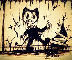 Bendy and the ink machine sketch by @RejectOutOfOrder
