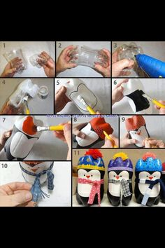 Fun activity to do with kids. Cut out the bottom of a soda container and vualaa add some details you got yourself a pinguin