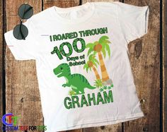 Dinosaur 100 Days of School Shirt for Boy 100 days of school   Etsy - #100daysofschoolshirt - 1 - DESCRIPTION ----------------------- 100 DAYS OF SCHOOL SHIRT 2 - ORDERING ------------------- Be sure to check the sizing chart before ordering in the images of this listing as some shirts styles do vary in measurements. If unsure please email us first and let us know there current size and... Boys School Shirts, School Spirit Shirts, Shirts For Girls, 100days Of School Shirt, Kindergarten Teacher Shirts, Superhero School, Pirate Shirts, School Posters, 100 Days Of School
