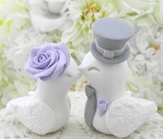 Love Birds Wedding Cake Topper White Lilac and Grey by LavaGifts