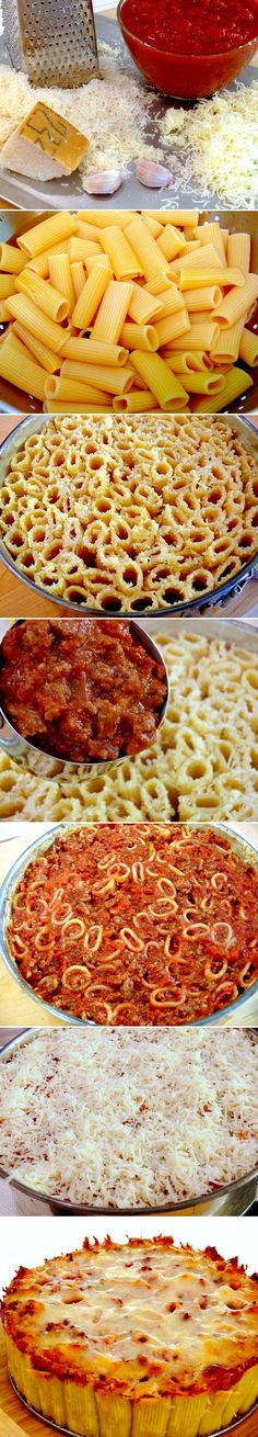 Pasta Pie - Tightly pack cooked rigatoni pasta upright in a pan to create this unique pasta dish. I Love Food, Good Food, Yummy Food, Tasty, Pasta Pie, Great Recipes, Favorite Recipes, Cooking Recipes, Healthy Recipes