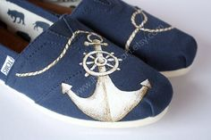 384ea3df7f4 Custom Painted TOMS Shoes Navy Anchor and Rope by ibleedheART Sneakers  Style, Jeans And Sneakers