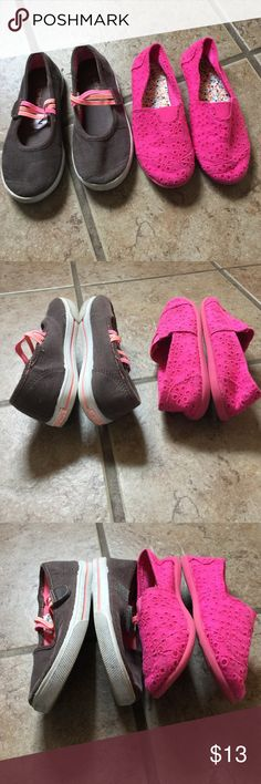 Girl's School Shoe Bundle Size 12 brown corduroy Carter's shoes with pink, orange, and coral elastic straps that Velcro over top of foot.  Size 13 pink Mudd slip on eyelet fabric shoes.  Elastic at top front of shoe for comfort stretch. Shoes Dress Shoes