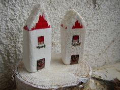 Set of 2 Little Clay House Winter Miniature Houses by FloroMondo Christmas Wreaths, Christmas Decorations, Xmas, Holiday Decor, Clay Houses, Miniature Houses, Roof Covering, Hand Shapes, Winter House