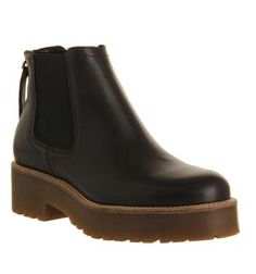 Office Codey Tread Sole Zip Boot Black Leather - Ankle Boots
