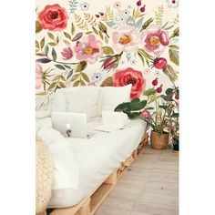 Bungalow Rose Marcum Removable Vintage Berries Flowers L x W Peel and Stick Wallpaper Roll Said Wallpaper, Wallpaper Panels, Textured Wallpaper, Self Adhesive Wallpaper, Wallpaper Roll, Peel And Stick Wallpaper, Textured Walls, Classic Wallpaper, Wallpaper Murals
