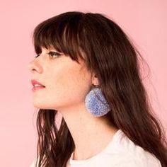 pom pom earrings - denim