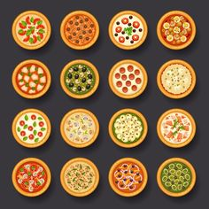 16 delicious pizzas plan view vector graphics