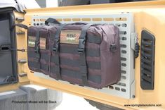 JK Rear Door Folding Tray/MOLLE Panel Combo- Out of Stock Until Mid November The production units for sale are BLACKGrey is only used in the prototypes and for better detail for photographs JK Rear Door Folding Rack Combo Includes. Jeep Wrangler Jk, Wrangler Unlimited, Jeep Jku, Basic Hand Tools, Door Rack, Molle Pouches, Racking System, Offroad, A Table
