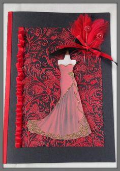 Elegant burlesque style red dress on a black birthday card.