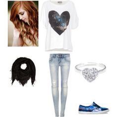 galaxy heart crop top with jeans
