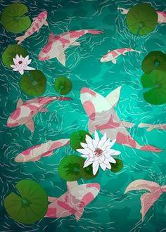 Japanese Dream Landscape poster prints by Noel delMar | Displate Bedroom Art, Poster Making, Trees To Plant, Spring Time, Digital Illustration, Tinkerbell, Fantasy, Poster Prints, Cartoon