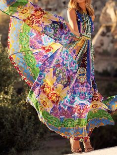 Multicolor Backless National Style Print Halter Maxi Dress | Choies