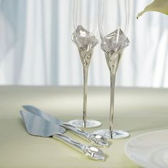 Personalized Wedding Calla Lily Cake Knife and Server Champagne Flutes Set  SoCuteInc.com
