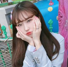 Korean Bangs Hairstyle, Hairstyles With Bangs, Cute Korean Girl, Ulzzang Boy, Beautiful Asian Girls, My Girl, Cute Girls, Korean Fashion, Handsome