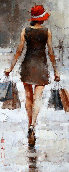 Andre Kohn (Russian-American, b. Woman Painting, Figure Painting, Painting & Drawing, Watercolor Paintings, American Art, Russian American, Abstract Portrait, Impressionist Paintings, Beautiful Drawings