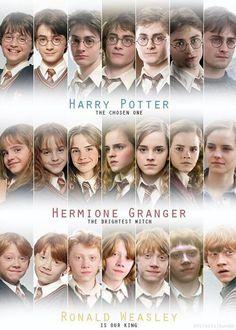 La evolución de Harry, Ron y Hermione