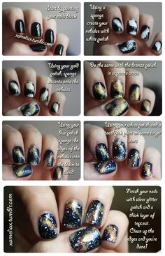 Galaxy nails? To do on a rainy day when I have the time for all these steps lol