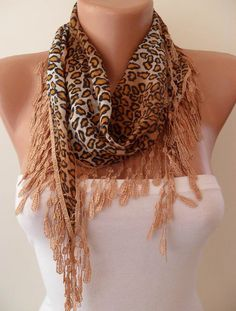 Brown Leopard Shawl  Scarf with Lace Edge by SwedishShop on Etsy, $9.90