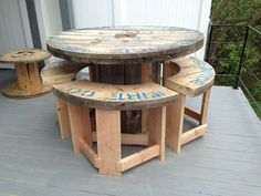 cable spool tables Creative Use of Recycled Pallet Cable Spools wood pallet cable spool recycling 7 Creative Use of Recycled Pallet Cable Spools #