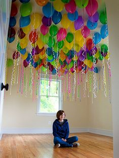 Kids birthday...fill bedroom up with ballons while sleeping so when they wake up all they see is the ballons