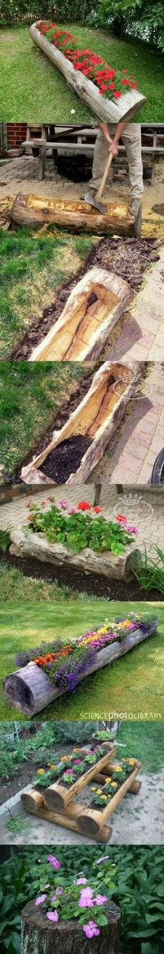 "Boomstronk als plantenbak [   ""Que idea tan decorativa psta tu jardin , galeria o porcho , etc."",   ""Creative Garden Hacks & Tips That Every Gardener Should Know - Make Beautiful Log Garden Planter"",   ""Really cute for a wooded yard espcially. This link has lots of other great ideas too. Make Beautiful Log Garden Planter - Gardening Inspire"",   ""DIY Log Planter Or maybe with the crossties at Mamas"",   ""Log Garden Planter 12 Gardening Hacks That Will Turn Your Garden Into A Heaven"",   ""Jardim…"