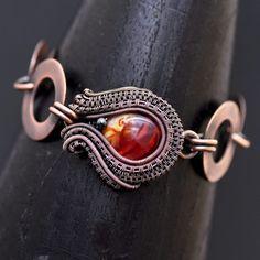 wire wrap bracelet, wire wrap jewelry, copper jewelry, copper bracelet, handmade jewelry, one of a kind jewelry, artisan glass, lampwork, wire weaving, wire wrapping, nicole hanna jewelry