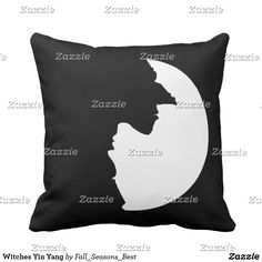 Witches Yin Yang Throw Pillow by FallSeasonsBest and Gravityx9 Designs - black and white, witch face silhouette, a good witch and a bad witch....in the shape of Yin Yang. Change the background color from black to white, you can add text, too! HomeDecor for Halloween