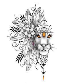 Lion Head Tattoos, Leo Tattoos, Animal Tattoos, Cute Tattoos, Body Art Tattoos, Girl Tattoos, Lion Tattoo Design, Tattoo Design Drawings, Tattoo Designs