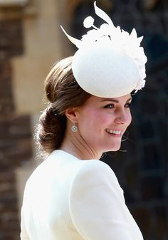 Catherine, Duchess of Cambridge arrives at the Church of St Mary Magdalene on the Sandringham Estate for the Christening of Princess Charlotte of Cambridge on July 5, 2015 in King's Lynn, England.
