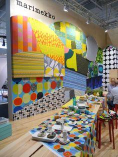Marimekko at Maison & Objet Design Show, Store Design, Fabric Covered Canvas, Accent Wall Designs, Marimekko Fabric, Trash Art, Textiles, Retail Design, Scandinavian Style
