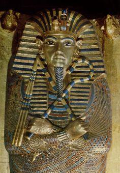 Innermost coffin of Tutankhamun, from the Tomb of Tutankhamun (c.1370-1352 BC) New Kingdom sheet gold, lapis lazuli & other semi-precious stones)