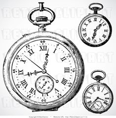 vintage 70s drawings | Vintage Pocket Watch Clip Art | Vintage Watches