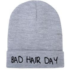 2e53436f Bad Hair Day Beanie Grey ❤ liked on Polyvore featuring accessories, hats,  grey beanie