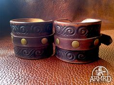 Leather Cuffs with Stamped Border by Armrd on Etsy, $35.00