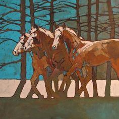 """Three in Trees"" - Originals - All Artwork - Peggy Judy Animal Paintings, Horse Paintings, Pastel Paintings, Photo Animaliere, Illustration Art, Illustrations, Southwest Art, Equine Art, 2d Art"