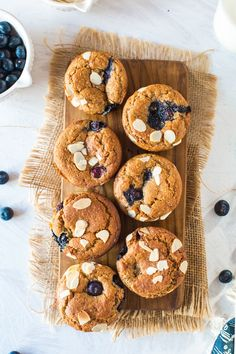 Paleo and Vegan Blueberry Muffins - One bowl and 10 ingredients is all you need to make these soft & moist muffins, lightly sweetened with coconut sugar and a hint of cinnamon