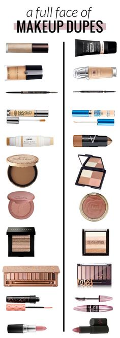 A face full of makeup dupes! High end vs. drugstore makeup. Can you believe the high end products total to $390 and the drugstore totals to $94?! Wow!!