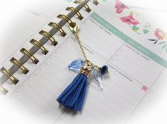 Planner Charm Planner Clip Planner Accessories Zipper Pull Purse Charm Tablet Case Charm Tassel Key Chain Blue Tassel Blue Charm by Jewelrywizard on Etsy