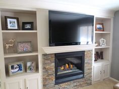 Fireplace Makeover with Built-In Shelves