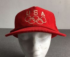 NEW USA OLYMPICS Snapback Hat 80's Vtg Red Corduroy Baseball Cap NWOT Mint! #unkown