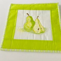Pear Art Quilt Stitched and Colored Pear Wall Hanging Quilted Wall Hanging Green Pear Quilted Art Quiltsy Handmade by homesewnbychristine on Etsy Fiber Art Quilts, Yellow Mugs, Bird Quilt, Hanging Towels, Color Depth, Cool Mugs, Quilt Stitching, Quilted Wall Hangings, Small Art