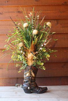 Handmade WESTERN FLORAL flower ARRANGEMENT cowboy boot real pheasant feathers home decor. $59.99, via Etsy.