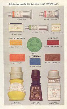 Spécimens exacts des couleurs pour l'aquarelle. Catalogue Lefranc (1924) p. 71