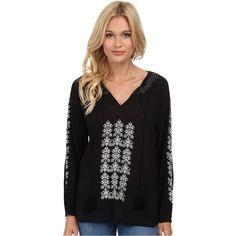 Tolani Sandra Top Women's Blouse, Black ($70) ❤ liked on Polyvore featuring tops, blouses, black, embroidered top, embroidered cotton blouse, peasant blouse, cotton blouse and collared blouse