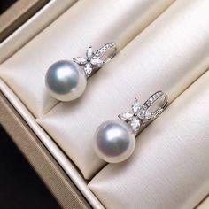 mm AAAA Quality Natural South Sea Pearl Earring Set In White Natürlicher Südseeperlenohr Rose Gold Earrings, Crystal Earrings, Women's Earrings, Diamond Earrings, Hanging Earrings, Earrings Online, Cluster Earrings, Cross Jewelry, Pearl Jewelry