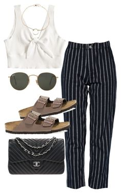 """""""Sans titre #964"""" by el-khawla ❤ liked on Polyvore featuring Ray-Ban, Birkenstock, Dogeared and Chanel"""